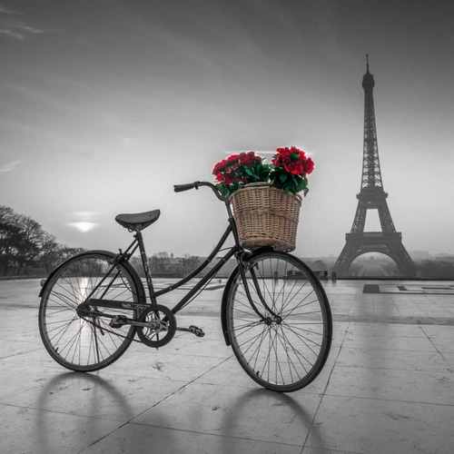 A bicycle with a basket of flowers with the Eiffel tower in the background