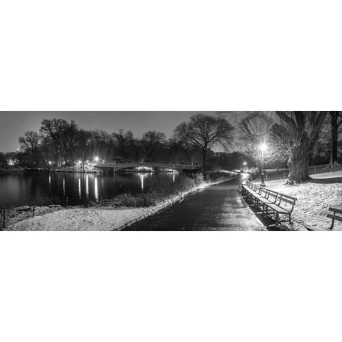 Path in cental park at night, winter, snow, New York.