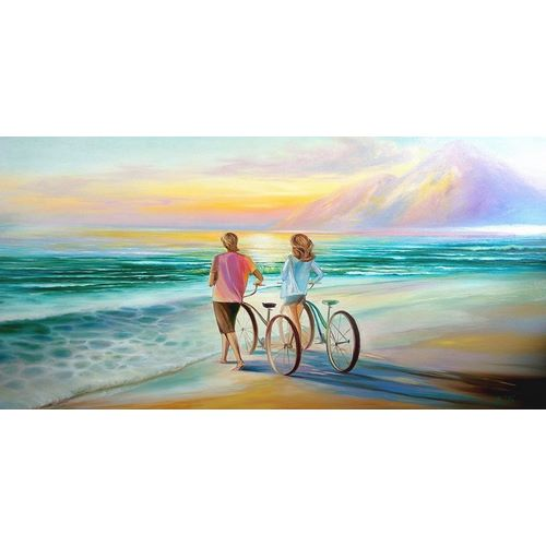 Lovers with bycicles on the Beach