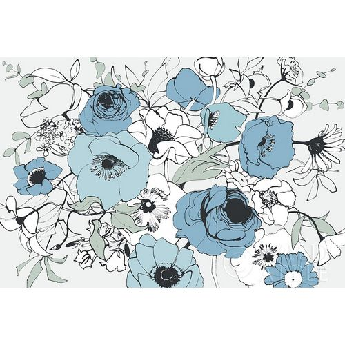 Watercolor Black Lined Poppies Mix