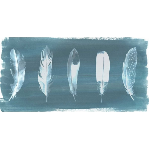 Feathers on Dusty Teal I